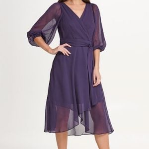 DKNY Ballon Sleeve Chiffon Dress